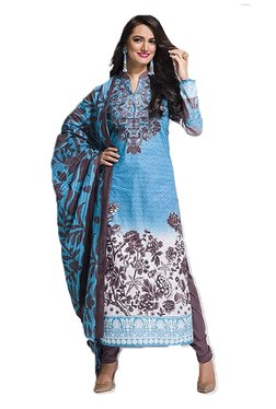 Ishin Blue & Grey Printed Cotton Dress Material