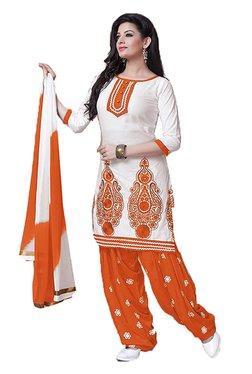 Ishin White & Orange Embroidered Cotton Dress Material