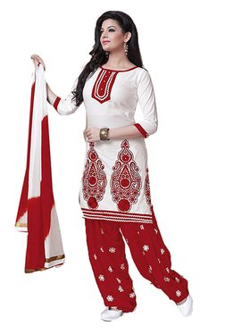 Ishin White & Red Embroidered Cotton Dress Material