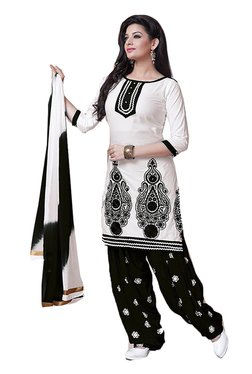 Ishin White & Black Embroidered Cotton Dress Material