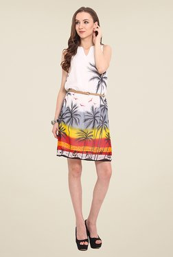 Trend Arrest White Tropical Print Dress