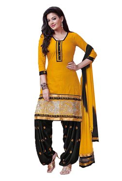 Ishin Yellow & Black Embroidered Cotton Dress Material