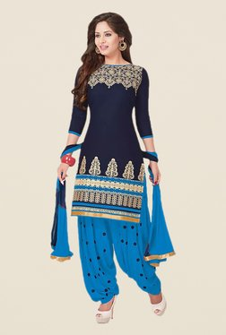 Ishin Navy & Blue Embroidered Cotton Dress Material