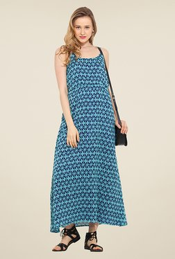 Trend Arrest Blue Geometric Print Maxi Dress