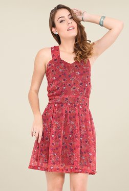 Trend Arrest Rust Floral Print Dress