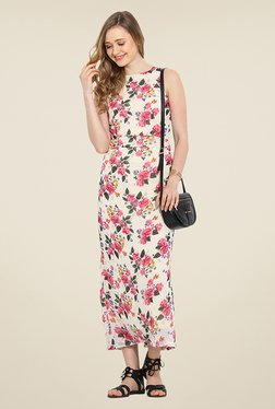 Trend Arrest Cream Floral Print Maxi Dress