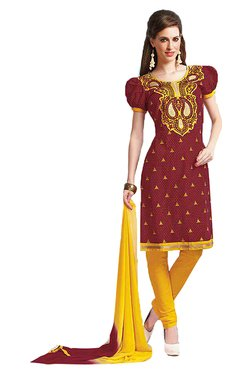 Ishin Brown & Yellow Printed Cotton Dress Material