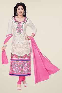 Ishin Off White & Pink Embroidered Cotton Dress Material