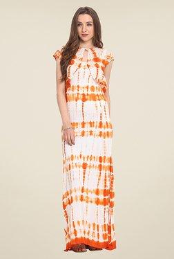 Trend Arrest Orange & White Tie Dye Maxi Dress