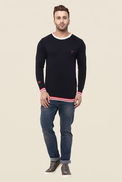 Monteil And Munero Red & Navy Solid Pullover