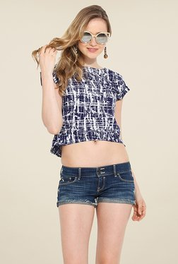 Trend Arrest Navy Printed Top