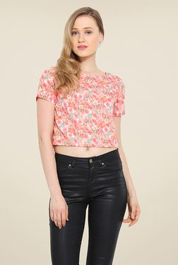 Trend Arrest Peach Floral Print Top