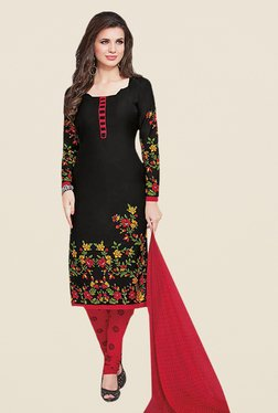 Ishin Black & Red Synthetic French Crepe Dress Material