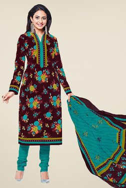 Ishin Brown & Blue Printed Cotton Dress Material