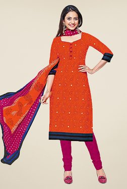 Ishin Orange & Pink Printed Cotton Dress Material