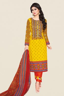 Ishin Yellow & Orange Printed Cotton Dress Material