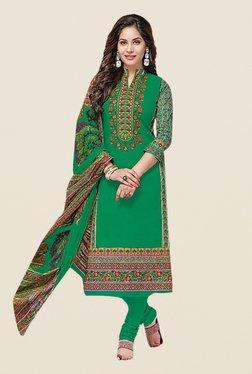 Ishin Green Printed Cotton Dress Material