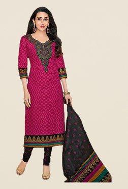 Ishin Pink & Black Printed Cotton Dress Material