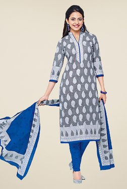 Ishin Grey & Blue Printed Cotton Dress Material