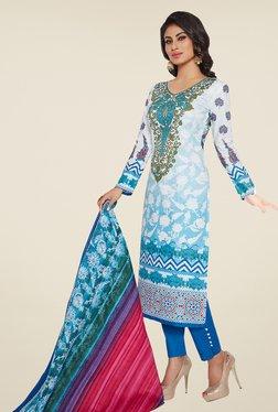 Ishin White & Blue Printed Cotton Dress Material