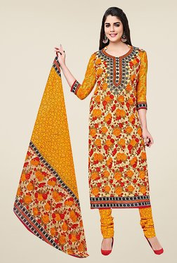 Ishin Yellow Floral Print Cotton Dress Material