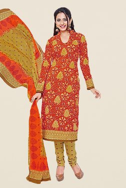 Ishin Orange & Beige Printed Cotton Dress Material