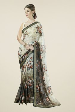 Ishin Off White & Olive Floral Print Faux Georgette Saree