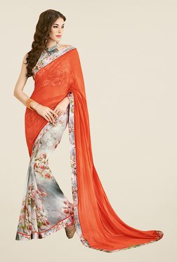 Ishin Off White & Orange Floral Print Faux Georgette Saree