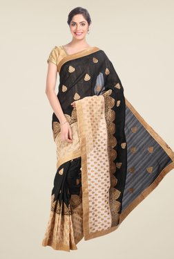 Jashn Black Embroidered Tussar Silk Saree