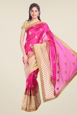 Jashn Pink Embroidered Tussar Silk Saree
