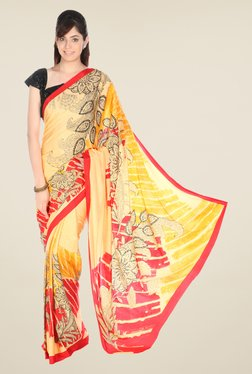 Jashn Yellow Printed Crepe Saree
