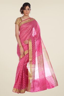 Jashn Pink Checks Kota Saree