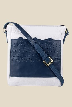 Hidesign Toy 04 Blue and White Leather Sling Bag