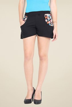 Trend Arrest Black Floral Print Shorts