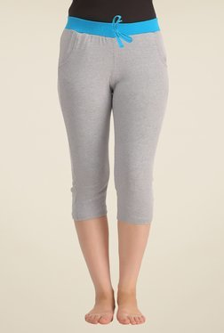 Clovia Grey Solid Yoga Capris