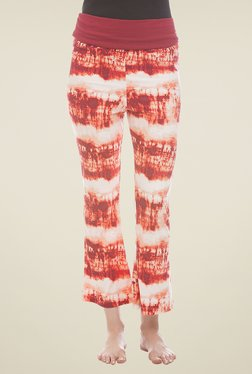 Clovia Orange Printed Yoga Pants