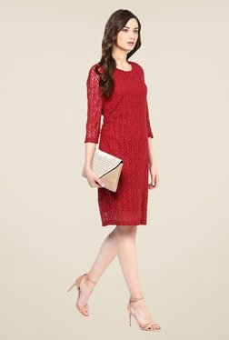 Color Cocktail Red Lace Dress