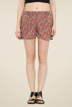 Trend Arrest Brown Floral Print Shorts