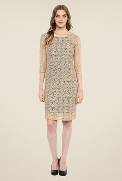 Color Cocktail Beige Lace Dress