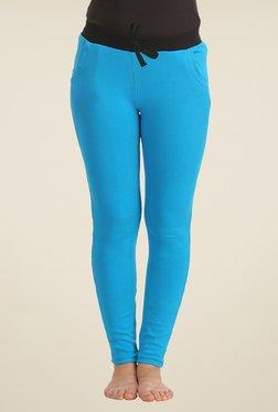 Clovia Blue Solid Yoga Pants
