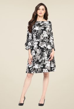 Color Cocktail Black Floral Print Dress