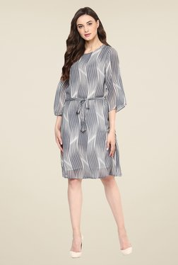 Color Cocktail Grey Striped Dress
