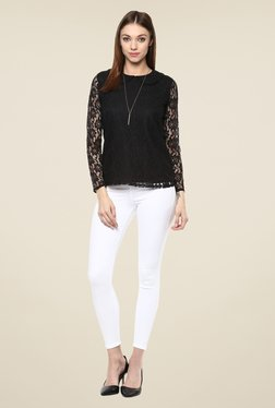 Color Cocktail Black Lace Top
