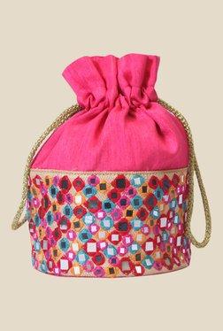 Tarusa Pink Art Silk Potli