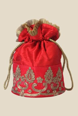 Tarusa Red Art Silk Potli