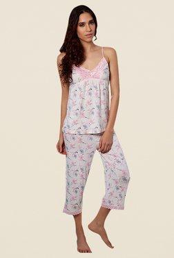Zivame Dreamwear Pink Floral Print Capri Set