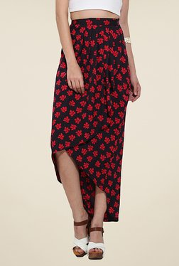 Trend Arrest Red Floral Print Skirt