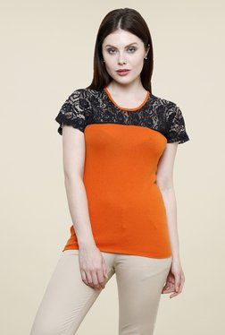 Renka Orange Lace Top - Mp000000000759825
