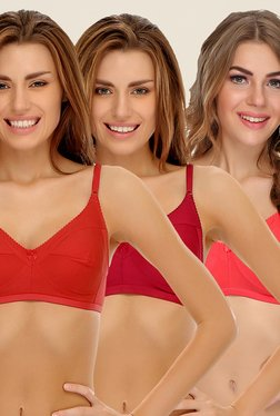 Clovia Red, Maroon & Coral Non Padded Bra (Pack Of 3)