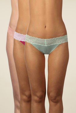 Triumph Olive, Pink & Peach Lace Bikini (Pack Of 3)